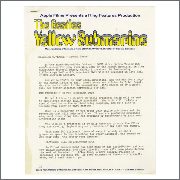 B27566 - The Beatles 1968 Yellow Submarine King Features Promotional Hand-Out (USA)
