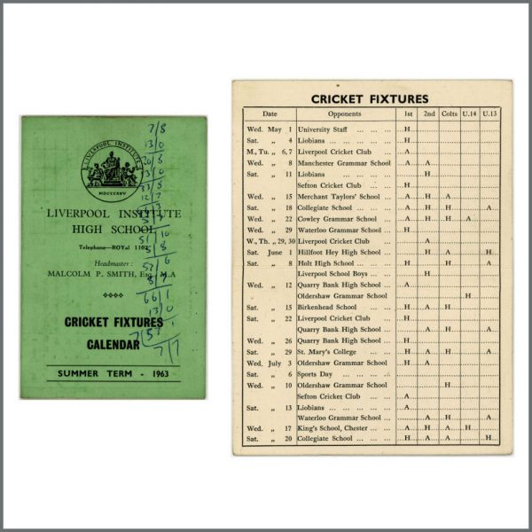 B27578 - Paul McCartney, George Harrison & John Lennon Related 1963 Liverpool Institute Cricket Booklet (UK)