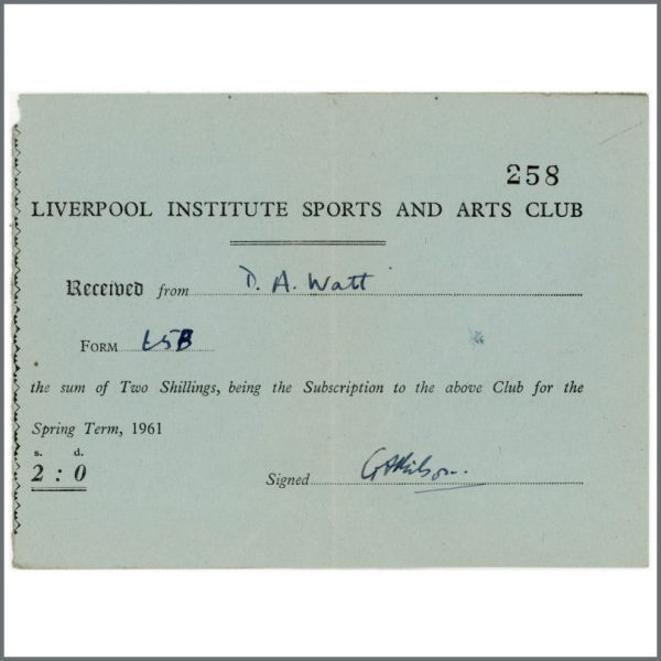 B27579 - Paul McCartney & George Harrison Related 1961 Liverpool Institute Arts & Sports Club Receipt (UK)