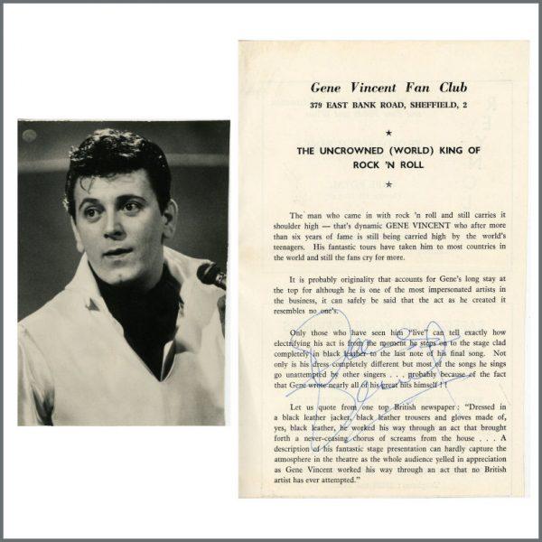 B27596 - Gene Vincent 1960s Autographed Fan Club Flyer (UK)
