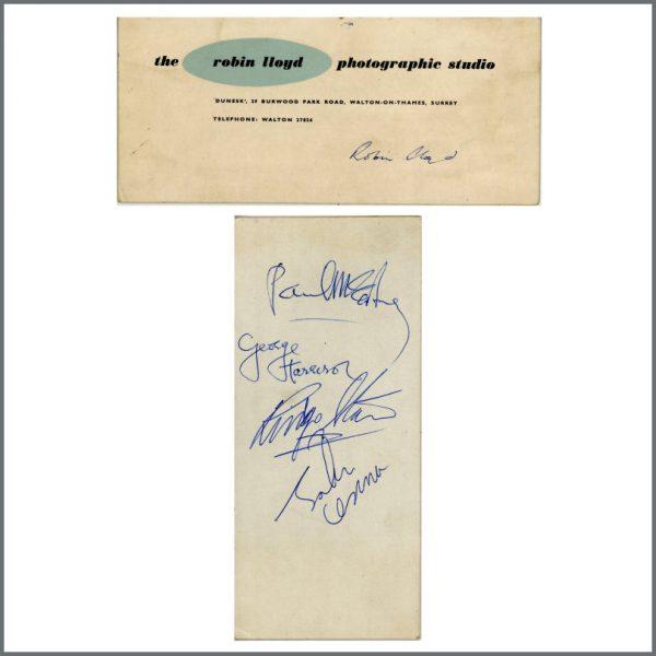 B27600 - The Beatles 1963 Autographed Photography Studio Header Card (UK)