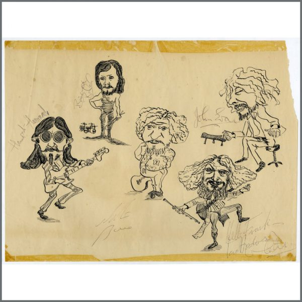 B27604 - Jethro Tull 1973 Autographed Passion Play Drawing (UK)
