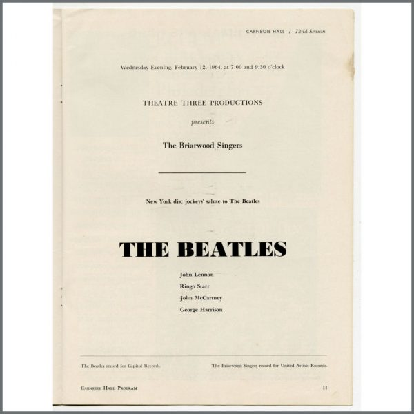 B27605 – The Beatles 1964 Carnegie Hall New York Concert Programme (USA) 2