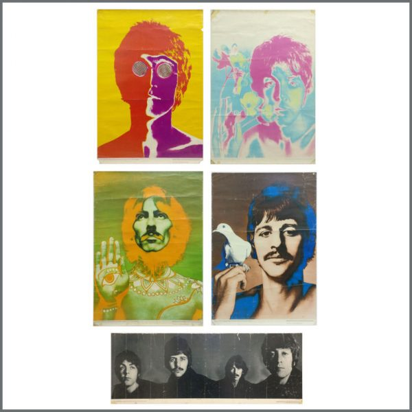 B27607 - The Beatles 1968 Complete Set Of Five Richard Avedon Psychedelic Posters (UK)