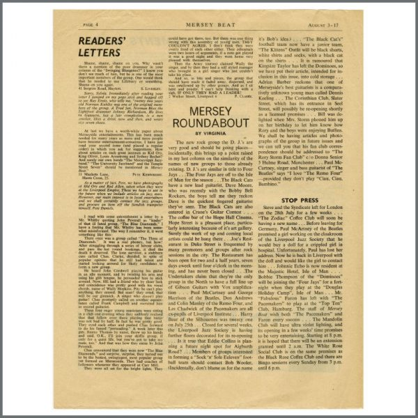 B27611 – The Beatles 1961 Mersey Beat Newspaper Volume 1 Number 3 (UK) 2