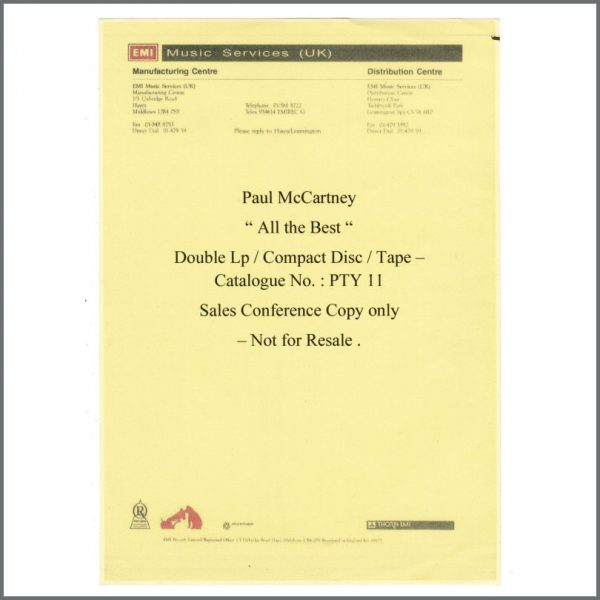 B27625 – Paul McCartney 1987 All The Best Double LP Sales Conference Not For Resale Copy PTY 11 (UK) 6