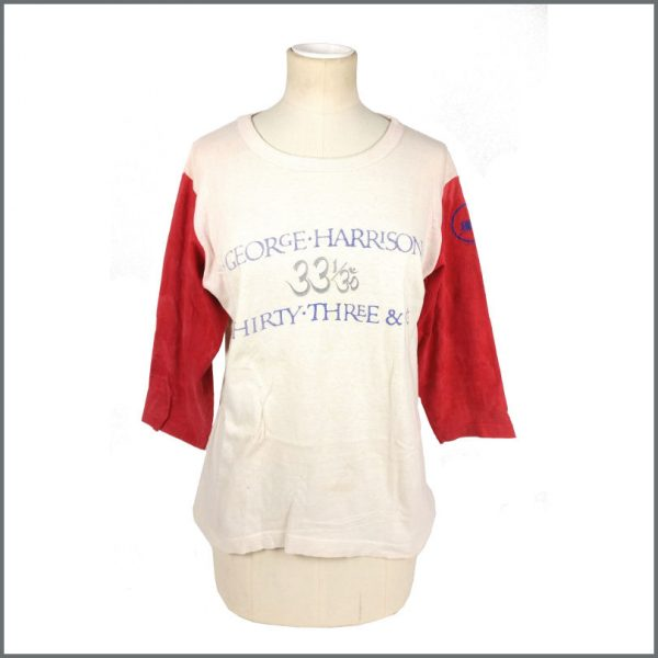 B27635 - George Harrison 1976 Thirty Three & 1/3 Promotional Baseball T-Shirt (USA)