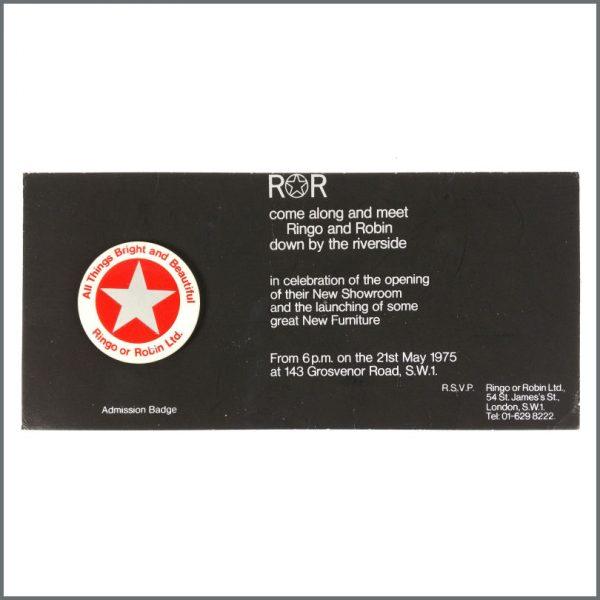 B27648 - Ringo Starr 1975 Ringo Or Robin Launch Invitation & Admission Badge (UK)