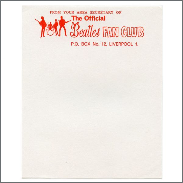 B27665 - The Official Beatles Fan Club Early 1960s Unused Letterhead Paper (UK)