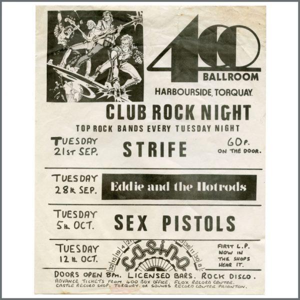 B27685 - Sex Pistols 1976 400 Ballroom Torquay Cancelled Concert Handbill (UK)