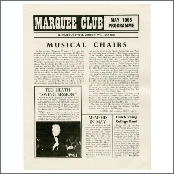 B27686 – The Who / The Yardbirds 1965 Marquee Club Promotional Handbill (UK) 1