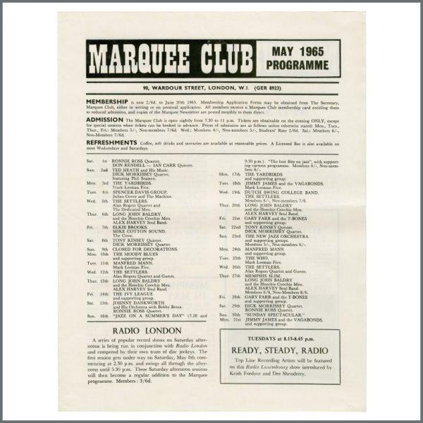 B27686 – The Who / The Yardbirds 1965 Marquee Club Promotional Handbill (UK) 2