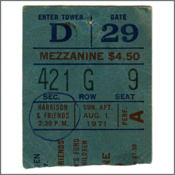 B27742 - George Harrison 1971 Concert For Bangladesh Concert Ticket Stub (USA)