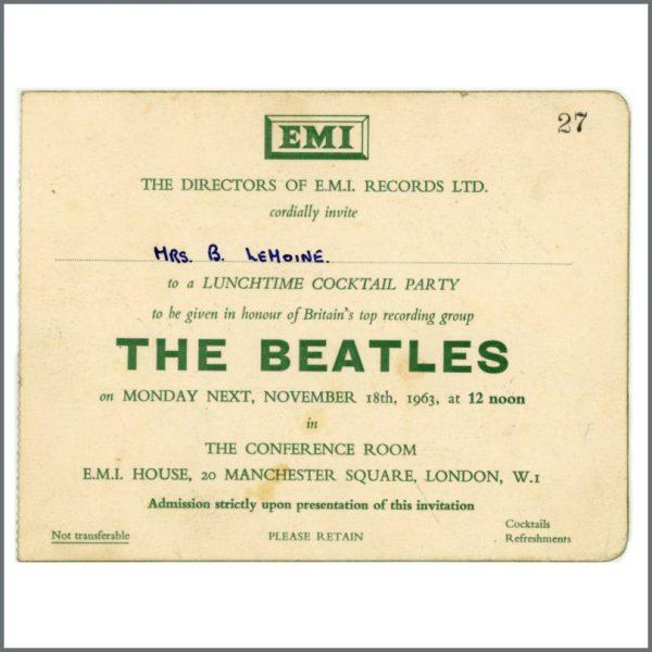 B27764 – The Beatles 1963 Autographed EMI Records Invitation (UK) 3