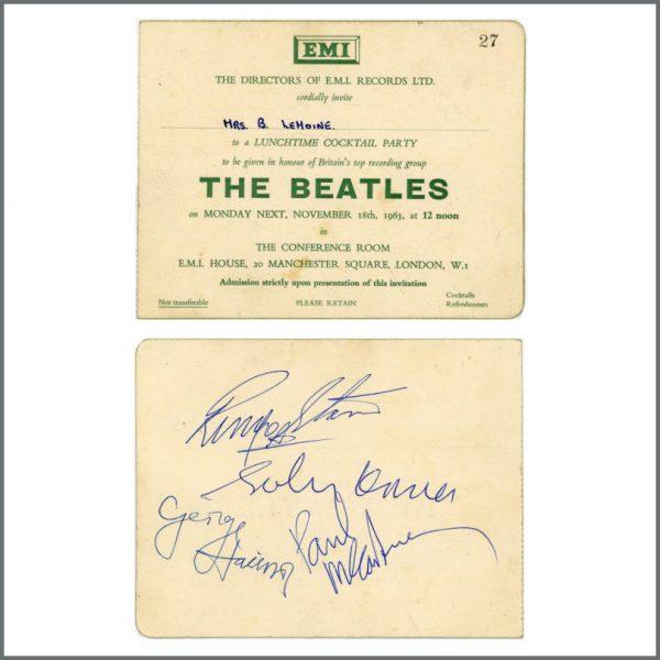 B27764 - The Beatles 1963 Autographed EMI Records Invitation (UK)