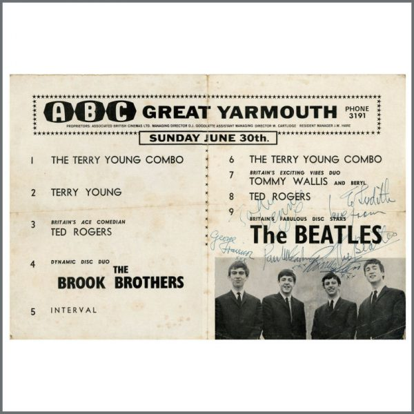 B27765 – The Beatles 1963 Autographed Great Yarmouth Concert Programme (UK) 2
