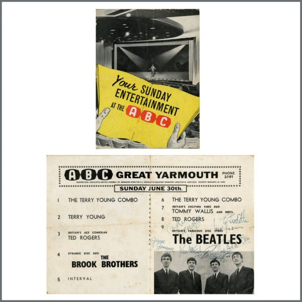 B27765 - The Beatles 1963 Autographed Great Yarmouth Concert Programme (UK)