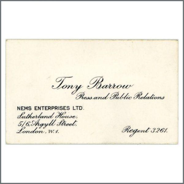 B27770 - The Beatles Tony Barrow NEMS Enterprises 1960s Business Card (UK)