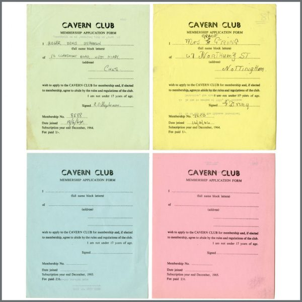 B27837 – Cavern Club 1964/1965 Membership Application Forms Bob Wooler Collection (UK) 1