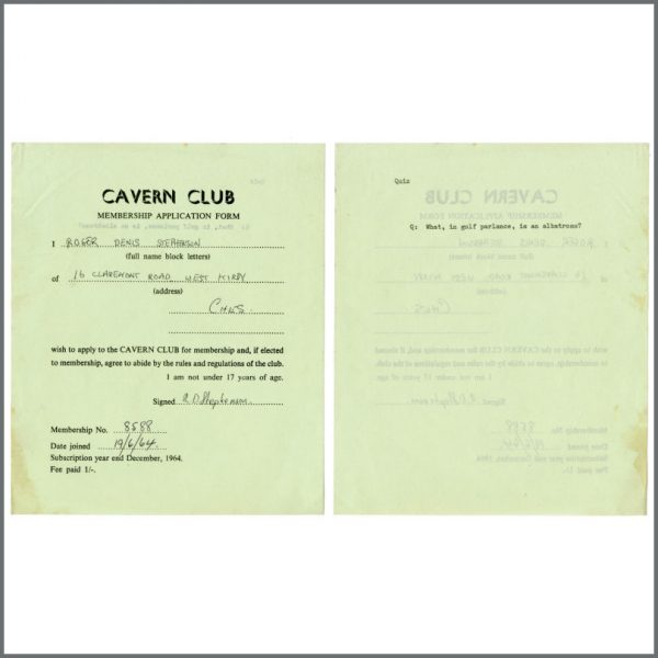B27837 – Cavern Club 1964/1965 Membership Application Forms Bob Wooler Collection (UK) 2