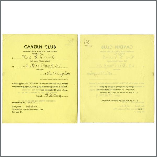 B27837 – Cavern Club 1964/1965 Membership Application Forms Bob Wooler Collection (UK) 3