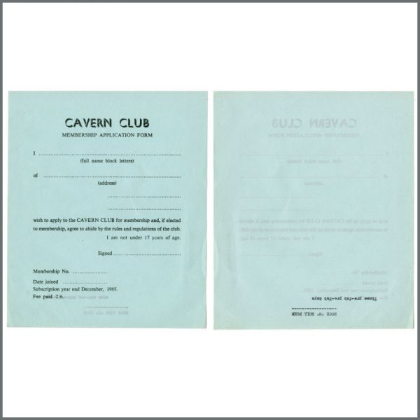 B27837 – Cavern Club 1964/1965 Membership Application Forms Bob Wooler Collection (UK) 4