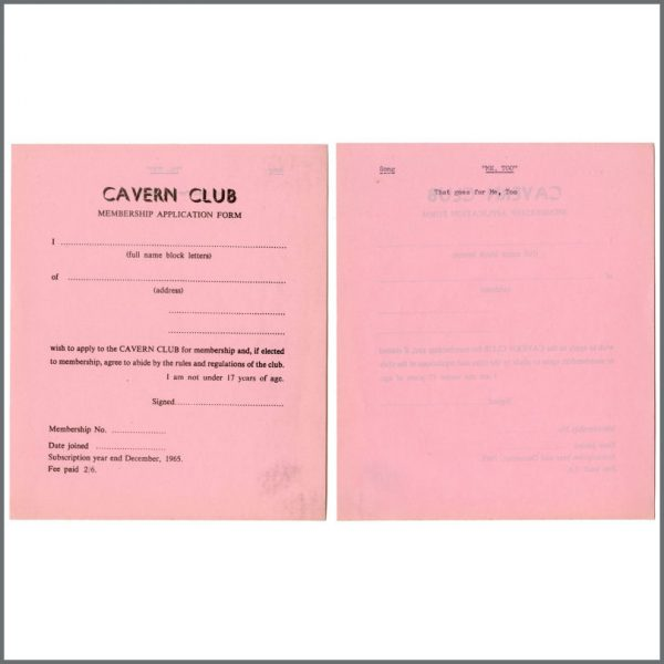 B27837 – Cavern Club 1964/1965 Membership Application Forms Bob Wooler Collection (UK) 5