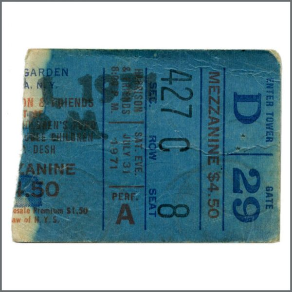 B27847 - George Harrison 1971 Concert For Bangladesh New York Rehearsal Ticket Stub (USA)
