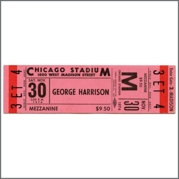 B27946 - George Harrison 1974 Chicago Stadium Illinois Concert Ticket (USA)