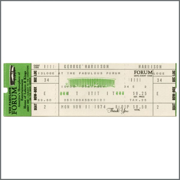 B27965 - George Harrison 1974 The Forum Los Angeles California Concert Ticket (USA)