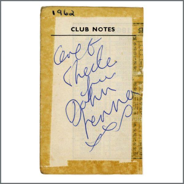 B27984 - John Lennon 1962 Cavern Club Liverpool Autograph (UK)