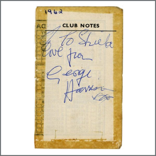B27985 - George Harrison 1962 Cavern Club Liverpool Autograph (UK)