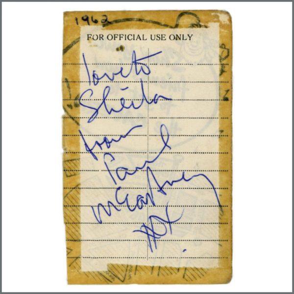 B27986 - Paul McCartney 1962 Cavern Club Liverpool Autograph (UK)