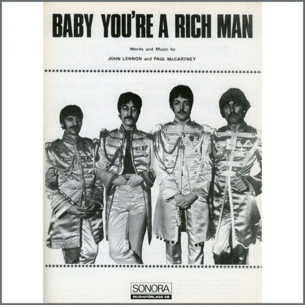 B25613 - The Beatles 1967 Baby You're A Rich Man Sonora Sheet Music (Scandinavia)