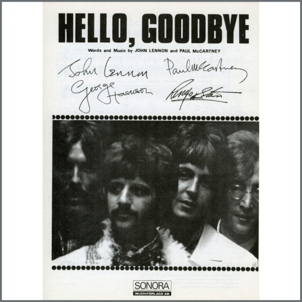 B25593 - The Beatles 1967 Hello, Goodbye Sonora Sheet Music (Scandinavia)