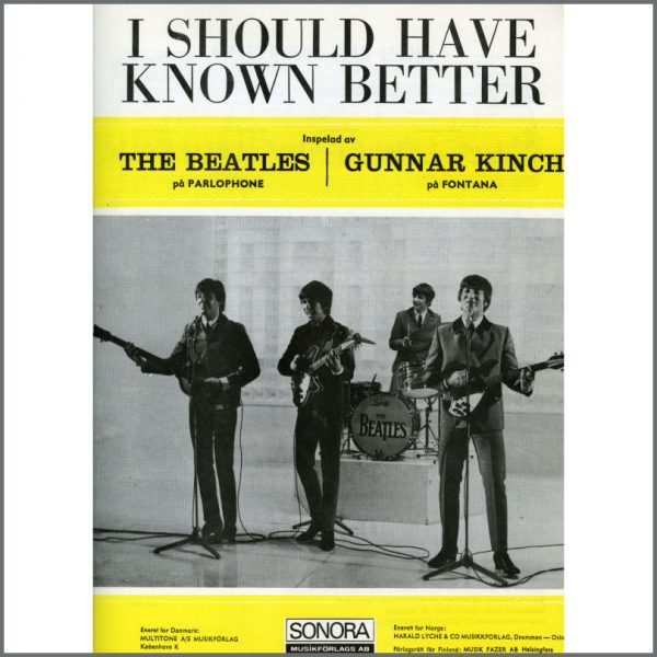 B25607 - The Beatles 1964 I Should Have Known Better Sonora Sheet Music (Scandinavia)