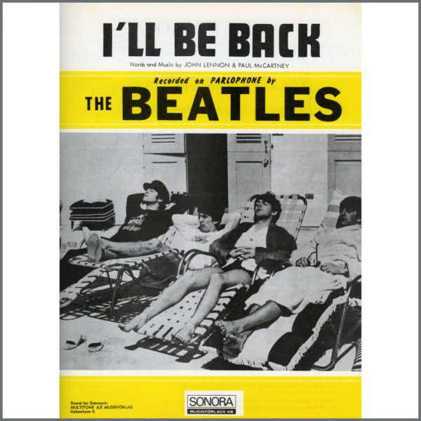 B25595 - The Beatles 1964 I'll Be Back Sonora Sheet Music (Scandinavia)