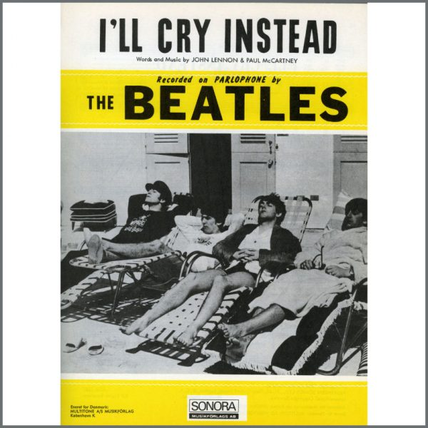 B25611 - The Beatles 1964 I'll Cry Instead Sonora Sheet Music (Scandinavia)