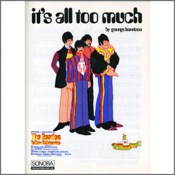 B25586 - The Beatles 1969 It's All Too Much Sonora Sheet Music (Scandinavia)