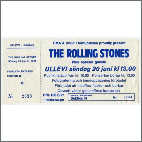 RS347A - Rolling Stones Ullevi Stadium 1982 Concert Ticket (Sweden)