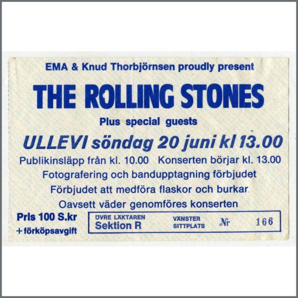 RS348B - Rolling Stones Ullevi Stadium 1982 Concert Ticket Stub (Sweden)