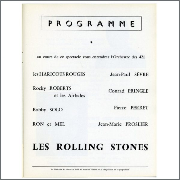 RS488 – Rolling Stones 1964 Olympia Theatre Concert Programme (France) 2