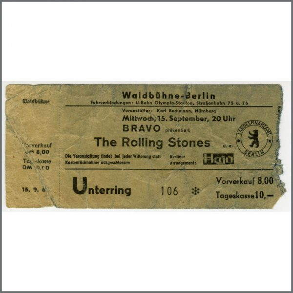 RS520 - Rolling Stones 1965 Berlin Waldbuhne Concert Ticket Stub (Germany)