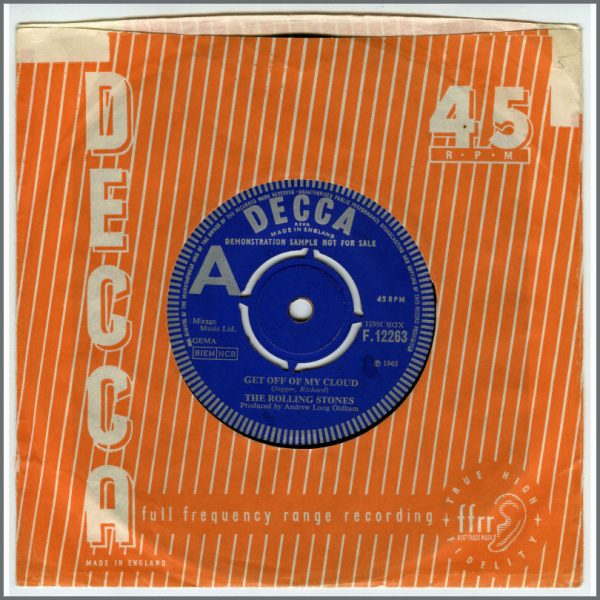 RS524 – Rolling Stones 1965 Get Off My Cloud 7 Inch Demonstration Record (UK) 1