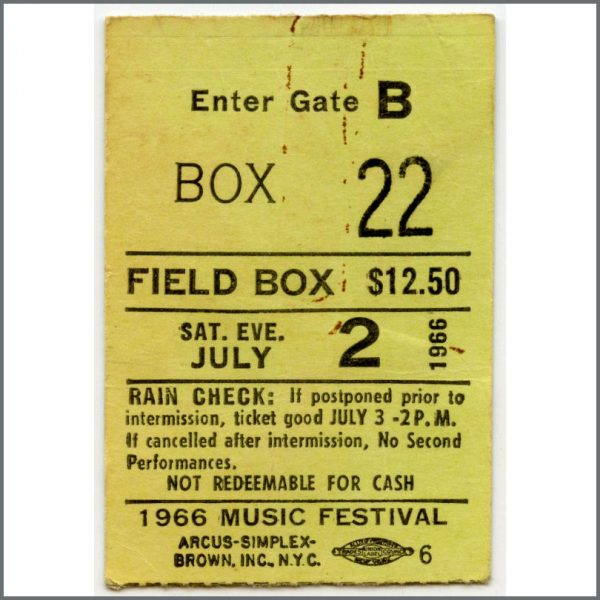 RS530 - Rolling Stones 1966 Forest Hills New York Concert Ticket Stub (USA)