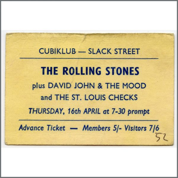 RS563 - Rolling Stones 1964 Cubiklub Rochdale Cancelled Concert Ticket (UK)