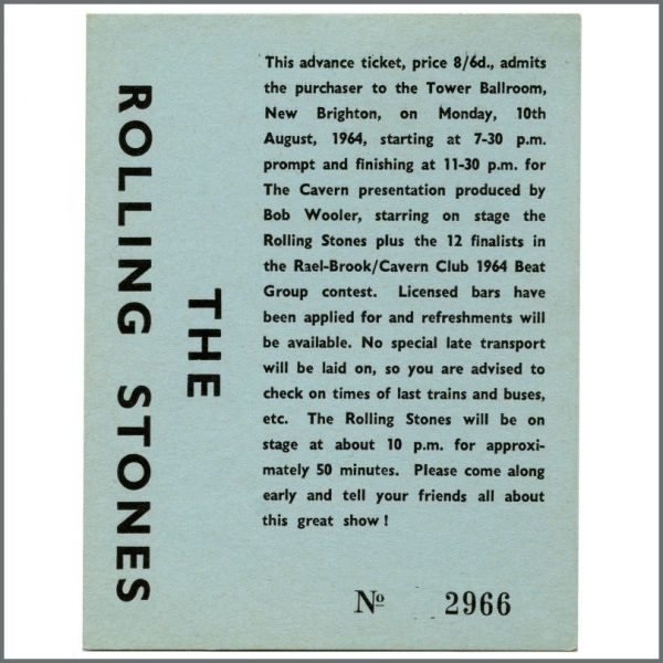 RS568 – Rolling Stones 1964 Tower Ballroom New Brighton Bob Wooler Signed Concert Ticket (UK) 1