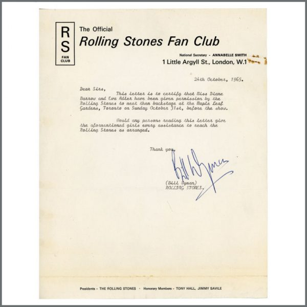 RS570 – Rolling Stones Bill Wyman Signed Toronto Backstage Pass Letter (Canada) 1