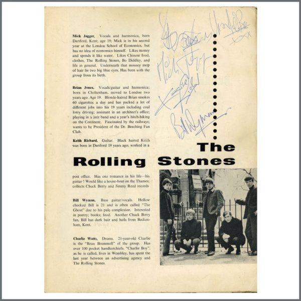 RS571 - Rolling Stones 1963 Autographed Tour Programme (UK)