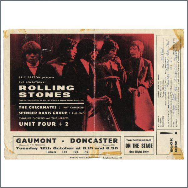 RS586 - Rolling Stones 1965 Doncaster Gaumont Concert Handbill (UK)